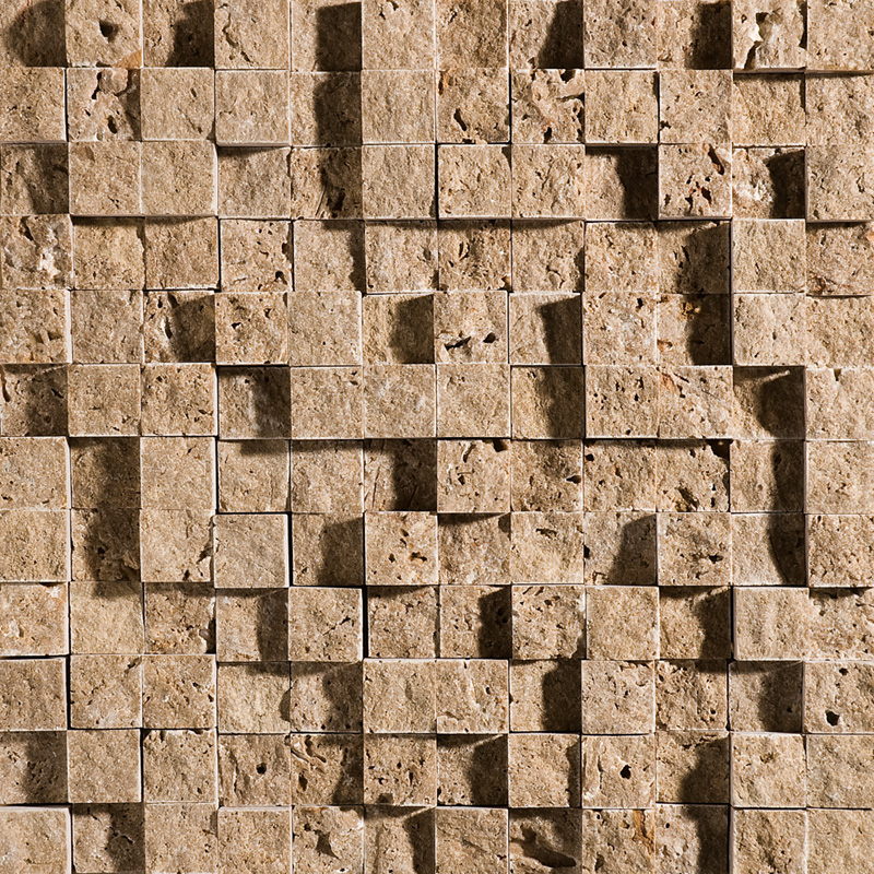 Walnut Dark Rock Face 1st Quality 32x32 1x1 Travertine Mosaics