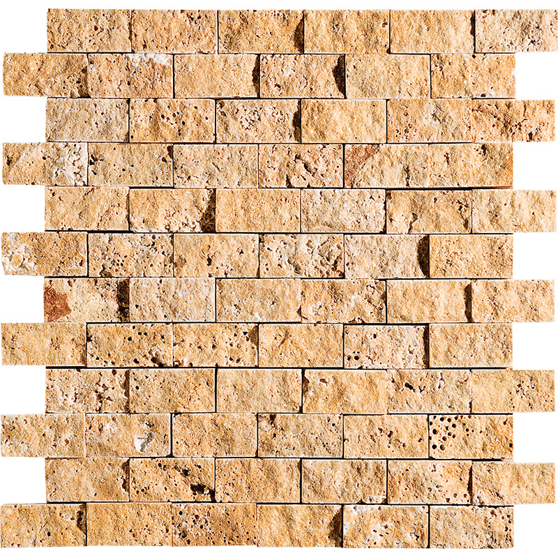 Golden Sienna Rock Face 1st Quality 30x31 1x2 Travertine Mosaics
