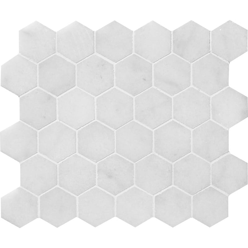 Glacier Honed 1st Quality 26,5×31 Hexagon Marble Mosaics