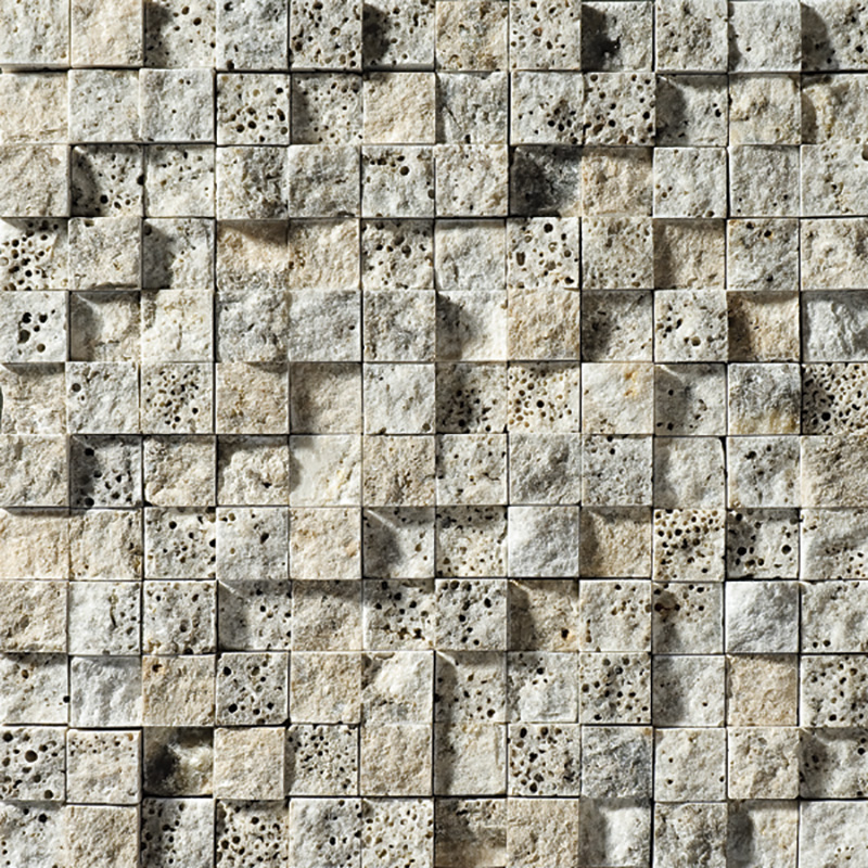Silverado Rock Face 1st Quality 32x32 1x1 Travertine Mosaics