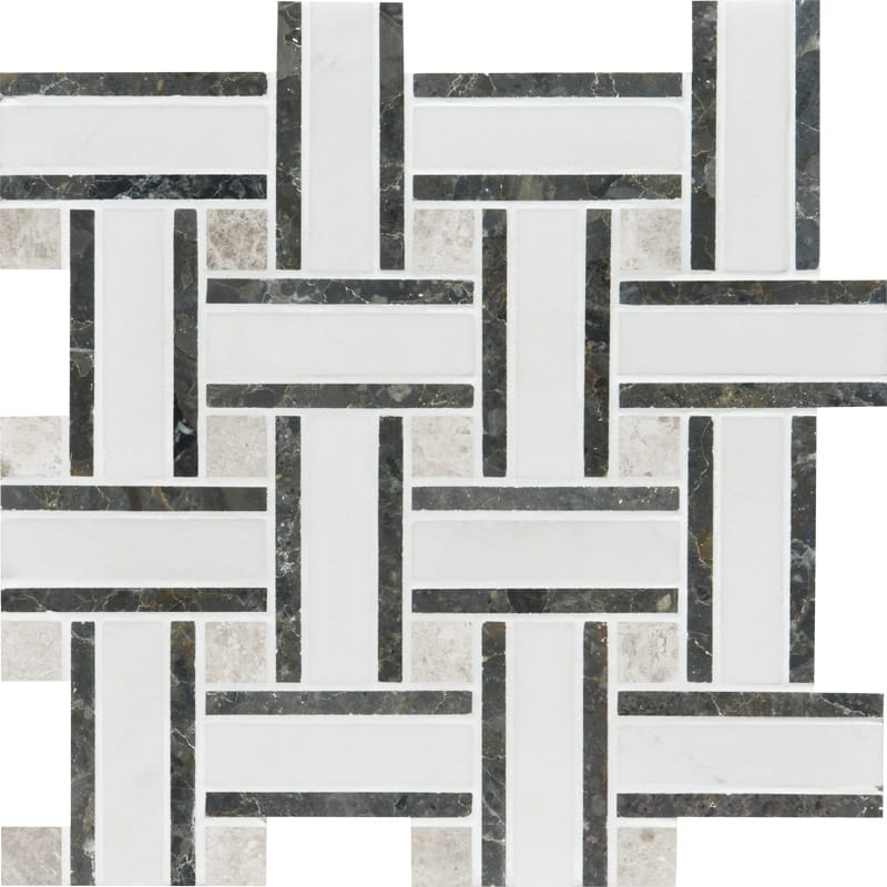Aspen White Polished 1st Quality 30,5x30,5 Lattice Marble Mosaics